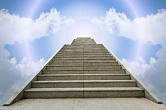Marble staircase and blue sky white cloud background Royalty Free Stock Images
