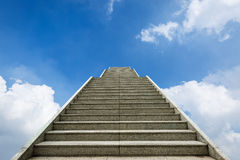 Marble staircase and blue sky white cloud background Stock Photos