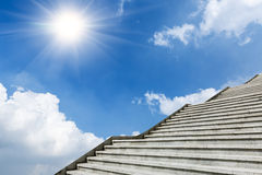 The marble staircase and  of blue white clouds sunrise  sky Stock Photos