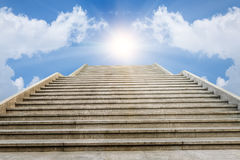 The marble staircase and  of blue white clouds sunrise  sky Royalty Free Stock Image