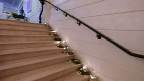 Marble staircase with Crystal Chandelier stock footage