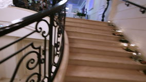 Marble staircase with Crystal Chandelier stock video