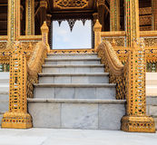 Marble Staircase with Elegant Handrails. Leading to Space with the Carving Frame Stock Image
