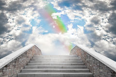 Marble staircase leading to the cloudy sky Royalty Free Stock Image
