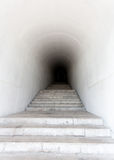 Marble staircase leading to dark tunnel Royalty Free Stock Photo