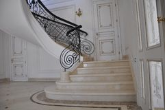 Marble staircase in a prestigious house. stock image