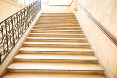 Marble staircase with stairs. In luxury hall stock photos