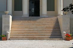 Marble staircase of a Venetian villa with vases at the sides Royalty Free Stock Photos