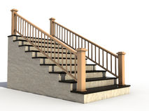 Marble staircase with wooden handrail №2 Stock Image