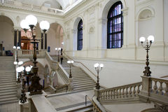 Marble staircases and lightning at Vienna University, Austria Stock Photo