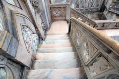 Marble stairs. Following to medieval Duomo's roof Stock Photo