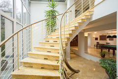 Marble stairs inside expensive house. View of marble stairs inside expensive house Royalty Free Stock Image