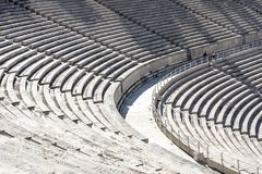 Marble stairs of panathenaic stadium. In Athens, Greece stock image