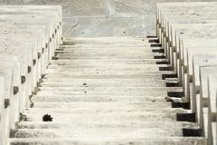 Marble stairs of panathenaic stadium. In Athens, Greece royalty free stock photo