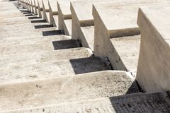 Marble stairs of panathenaic stadium. In Athens, Greece royalty free stock images