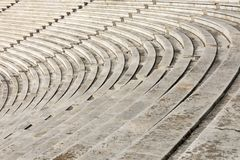 Marble stairs of panathenaic stadium. In Athens, Greece royalty free stock photography