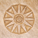 Marble star. Carved star in marble floor tile Stock Photography