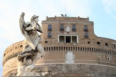 Statue of Angel by Castel Sant´Angelo Stock Images