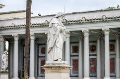 Marble statue of the apostle in the church yard of the Cathedral Basilica of St. Paul Fuori le Mura in Rome, Italy. Marble statue of the apostle in the church stock photo