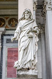 Marble statue of the apostle in the church yard of the Cathedral Basilica of St. Paul Fuori le Mura in Rome, Italy. Marble statue of the apostle in the church Stock Photography