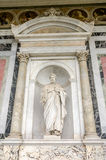 Marble statue of the apostle in the church yard of the Cathedral Basilica of St. Paul Fuori le Mura in Rome, Italy. Marble statue of the apostle in the church royalty free stock photography