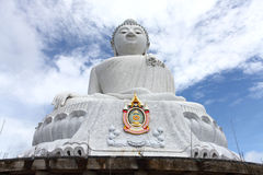 The marble statue of Big Buddha over blue sky Stock Photo