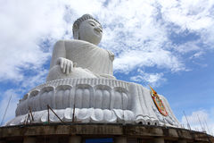 The marble statue of Big Buddha over blue sky Stock Image