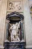 A marble statue disciple of Jesus the Apostle of St. Andreas in Basilica di San Giovanni in Laterano in Rome, capital of Italy. Roma, Italy - October 2015: A Royalty Free Stock Photography