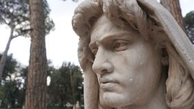 Marble statue face of a bust. In a city park Royalty Free Stock Photography