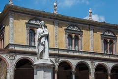 Marble statue in honor of Dante Alighieri in piazza dei Signori royalty free stock images