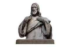 Marble statue of Jesus Christ isolated on white with clipping path royalty free stock images