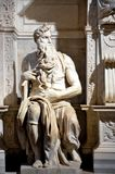 Marble statue of Moses by Michelangelo. Michelangelo `s Moses statue - in San Pietro in Vincoli church - Rome - Italy Stock Images