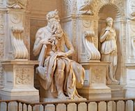 Marble statue of Moses. Rome, St. Pietro in Vincula Church, by Michelangelo Stock Images