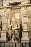 Marble statue of Moses sculpted by Michelangelo in Rome, Italy Stock Photography