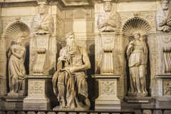 Marble statue of Moses sculpted by Michelangelo in Rome, Italy Stock Image