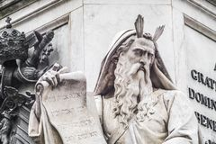 Marble statue of Moses,. Statue of Moses, detail of the monument to the Immaculate Conception, by Ignazio Jacometti in 1856 located in Piazza di Spagna in Rome Royalty Free Stock Photo