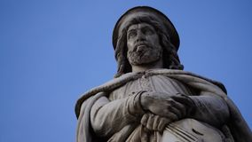 Marble statue of a poet. Marble statue of the poet Walther von der Vogelweide Stock Photo