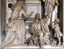 Marble statues in the cemetery. One of the many statues located in the cemetery of Staglieno in Genoa Stock Images