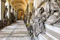Marble statues in the cemetery. One of the many statues located in the cemetery of Staglieno in Genoa Royalty Free Stock Photography