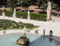 Marble statues and fountain in Villa Borghese, public park stock image