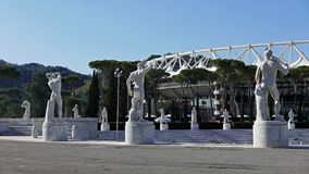 Stadio Dei Marmi sports complex Rome. Marble statues of naked male athletes in the Fascist era Stadio Dei Marmi Foro Italico sports complex in Rome, Italy Royalty Free Stock Photo