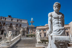Marble statues on staircase, Palermo, Italy Royalty Free Stock Image