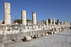 Marble steet, Ephesus, Izmir, Turkey. Colums of marble street in Ephesus Royalty Free Stock Photos