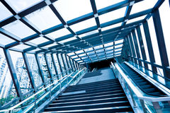 Marble steps and stainless steel stair rails Royalty Free Stock Images