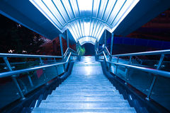 Marble steps and stainless steel stair rails Stock Photography