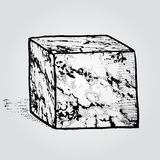 A marble stone cube. Hand drawn design element. Vintage vector i Stock Image