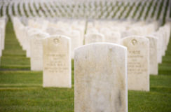 Marble Stone Military Headstones Hundreds Row Graveyard Cemetery Royalty Free Stock Images