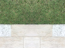 Marble Stone Pattern Sidewalk with Grasses in The Garden, Top View Royalty Free Stock Photos