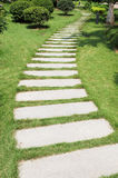The marble stone paved footpath Stock Image