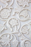 Marble stone work. Detail of intricate white marble stone carving - India Stock Images